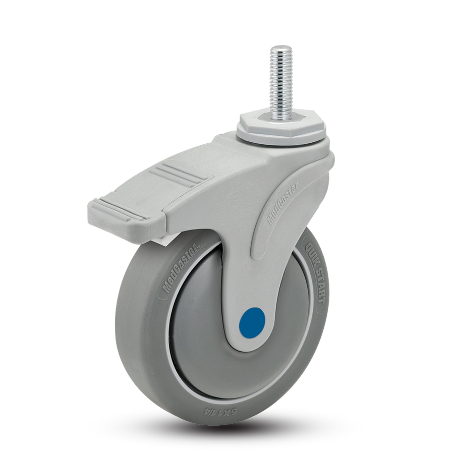 """Medcaster Next Gen Nylon & Stainless Total Locking Caster 5"""" (300 LBS Cap) [NS-05QDP-125-TL-TS13]"""