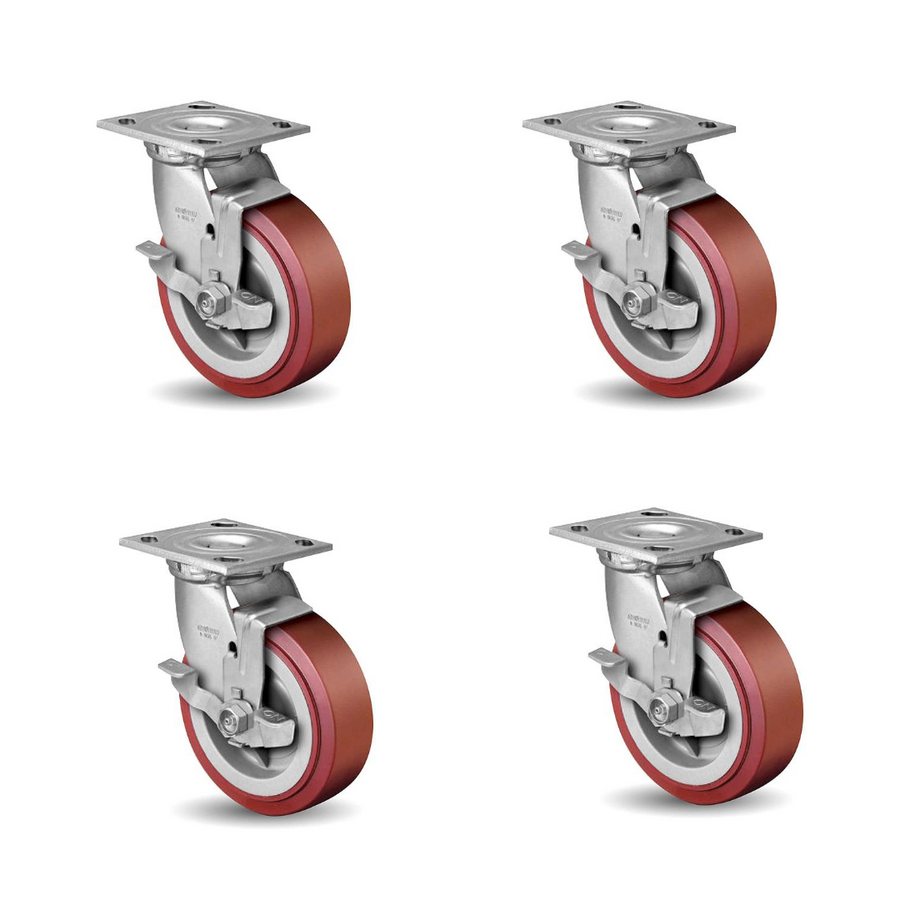 "Linco Heavy Duty Locking Casters 6"" Set of 4 with Polyurethane Swivel Wheels (3600 LBS Cap)"