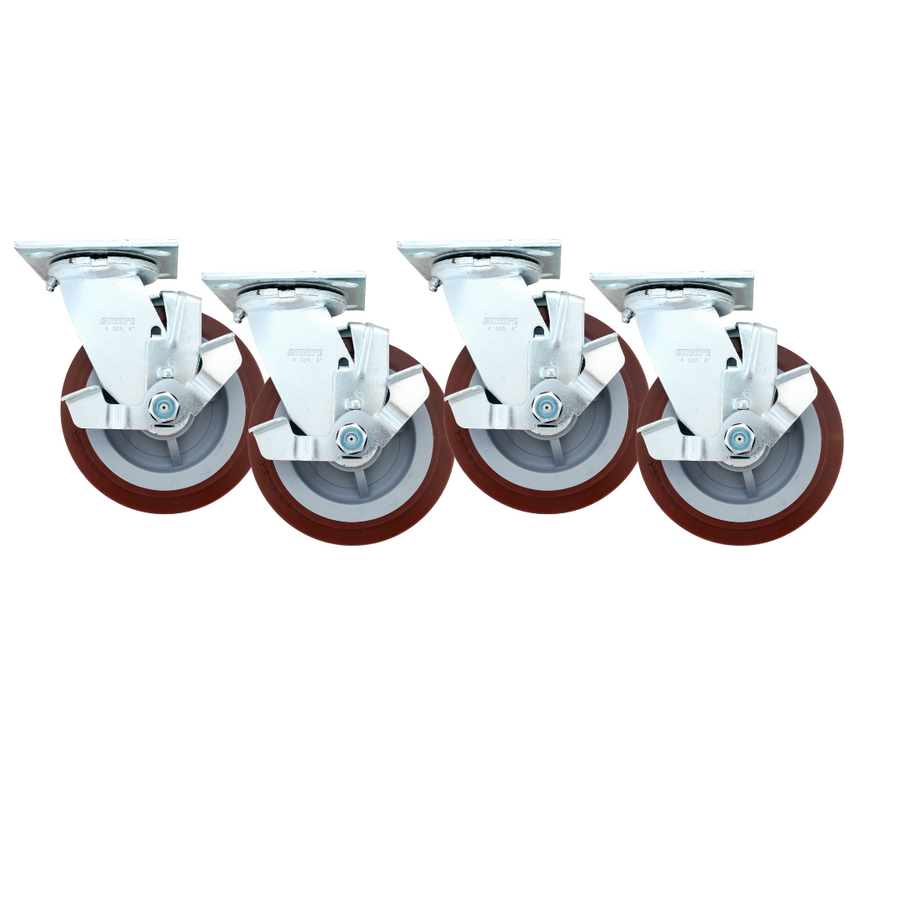 """LINCO Heavy Duty Locking Swivel Casters 6"""" - Set of 4 with Polyurethane Wheels (3600 LBS Cap Combined)"""