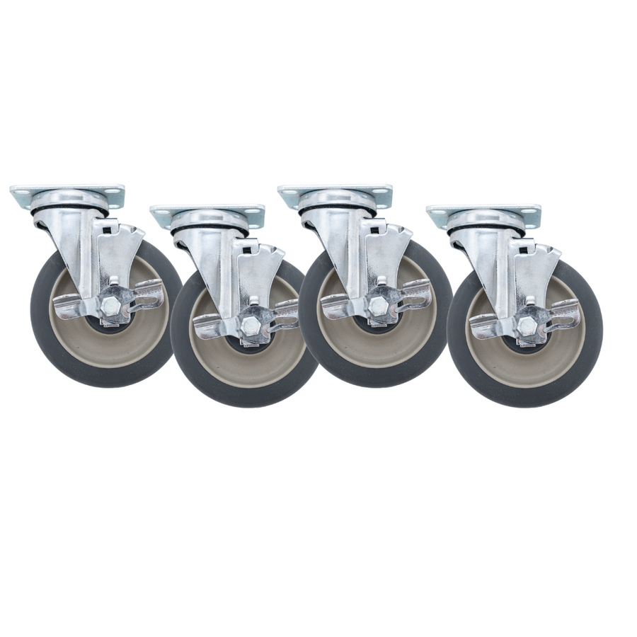 """Linco Chrome Heavy Duty Food Service Casters 5"""" Set of 4 with Polyurethane Swivel Wheels (1200 LBS Cap)"""