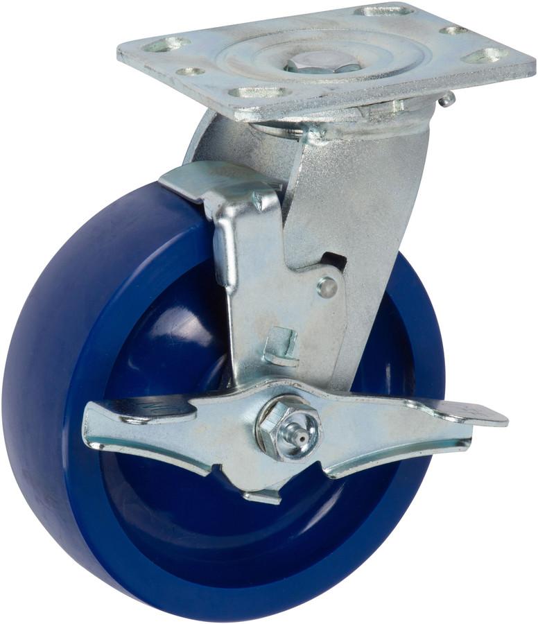 "Trio Pines 6660 Series Polyurethane Tread Swivel Caster 6"" with Top Lock Brake (Blue)"