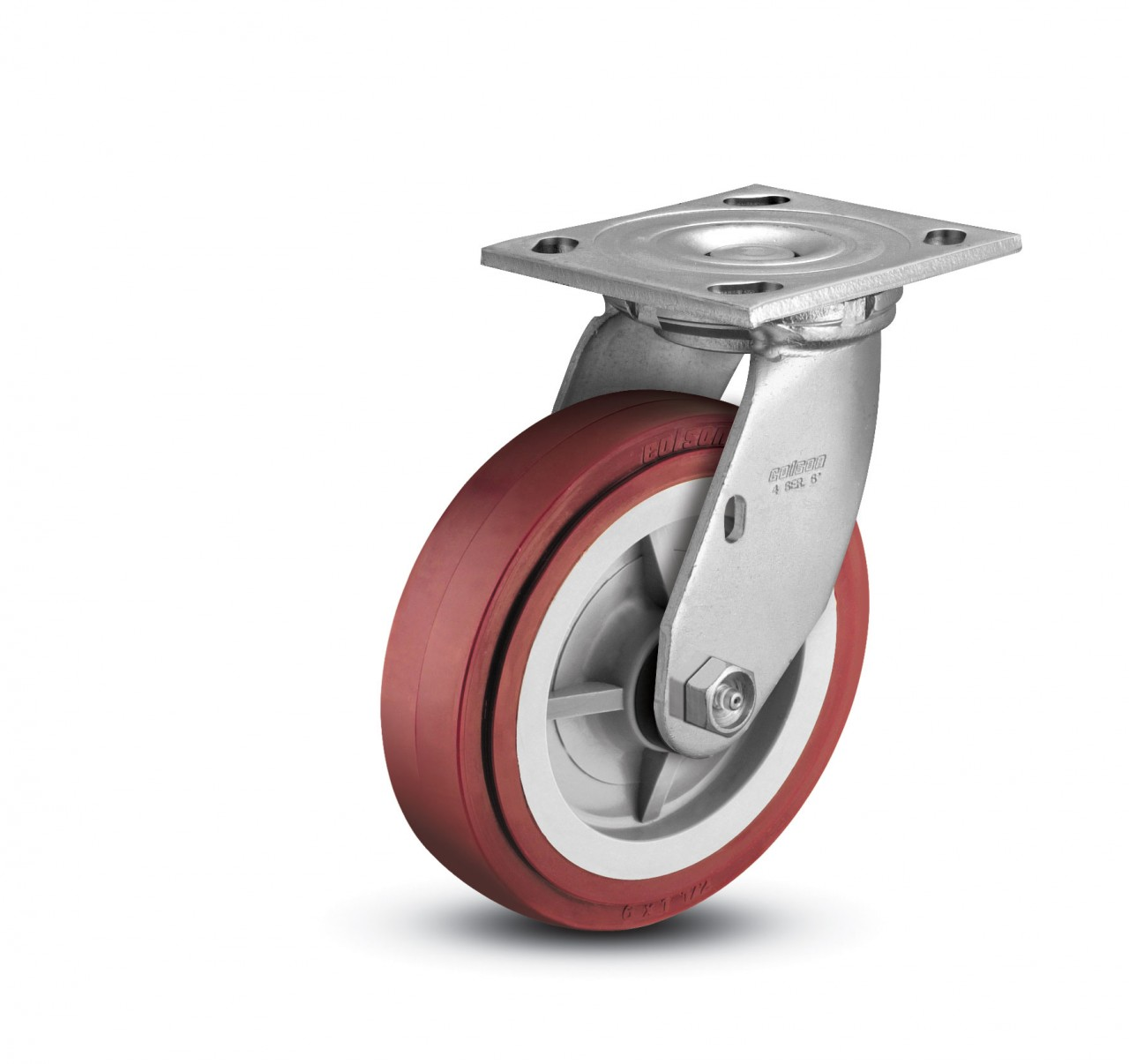 "Green 2400# Cap. 4 Durable Swivel Plate Casters 4/"" x 2/"" Polyurethane Wheel"