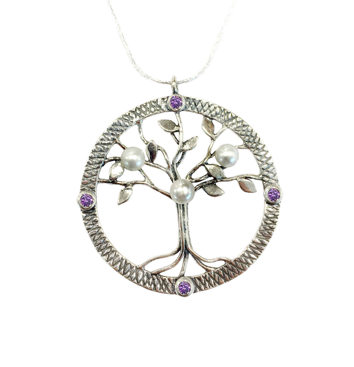 N03004 - AM - Large pendant with beautiful Tree of Life with Pearls and  Amethyst cubic zirconia