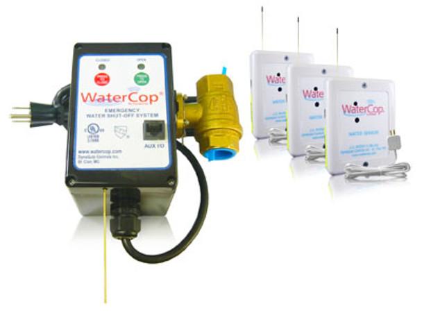 "WaterCop Sergeant Kit, 3/4"" Valve, Actuator, 3 Wireless Water Leak Sensors"