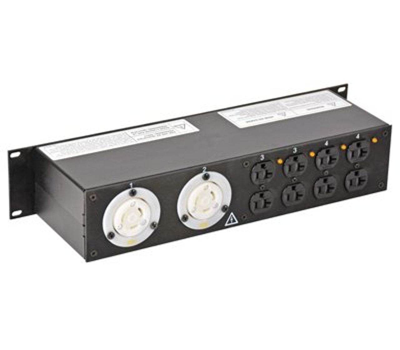 Lex 2RU Rack Mount Power Distribution, L14-30 In/Thru to (2) L5-30 and Duplexes