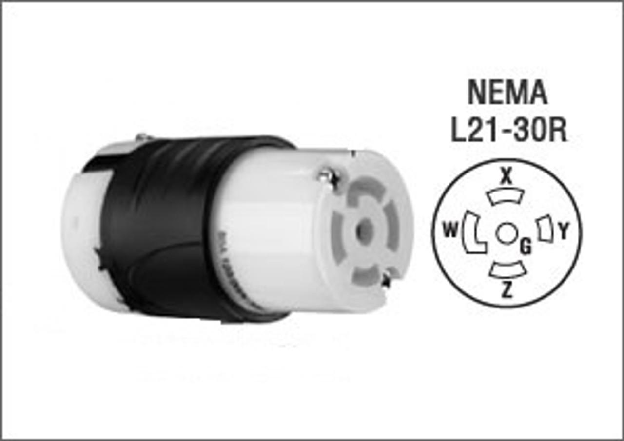 NEMA L21-30 Locking Extension - 100'