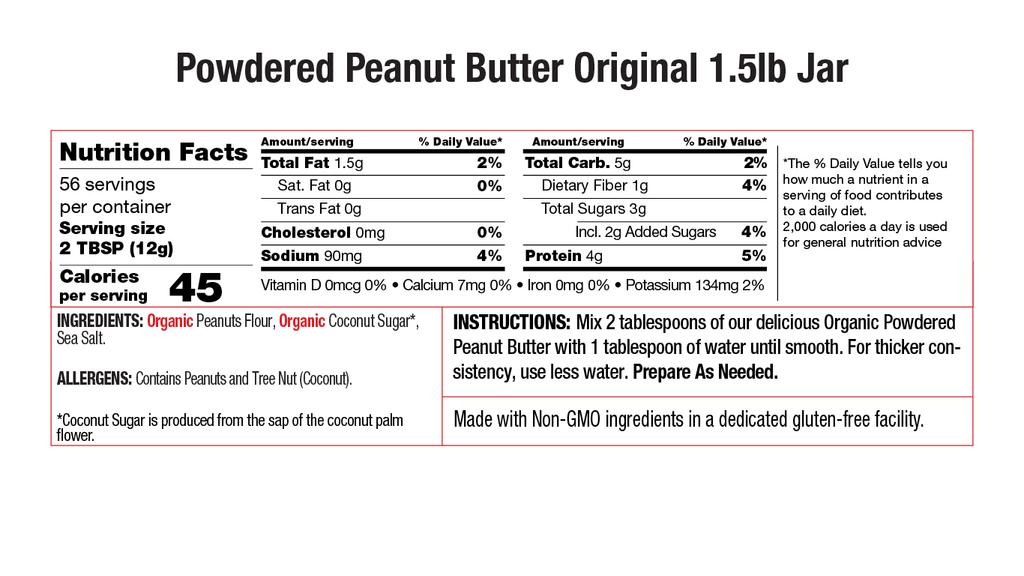 Original Powdered Peanut Butter Nutritional 1.5lb Jar