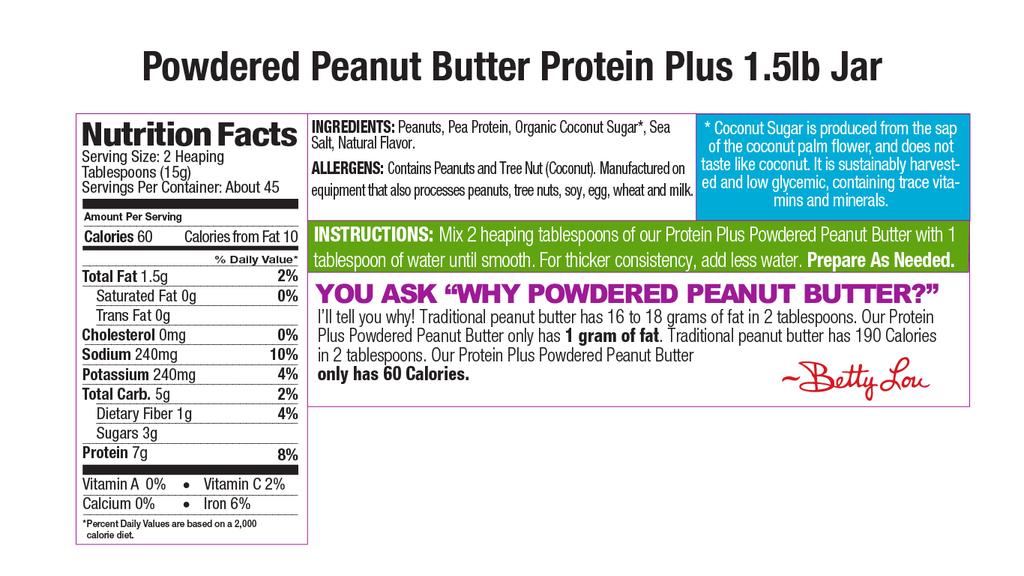 Protein Plus Powdered Peanut Butter Nutritional 1.5lb Jar