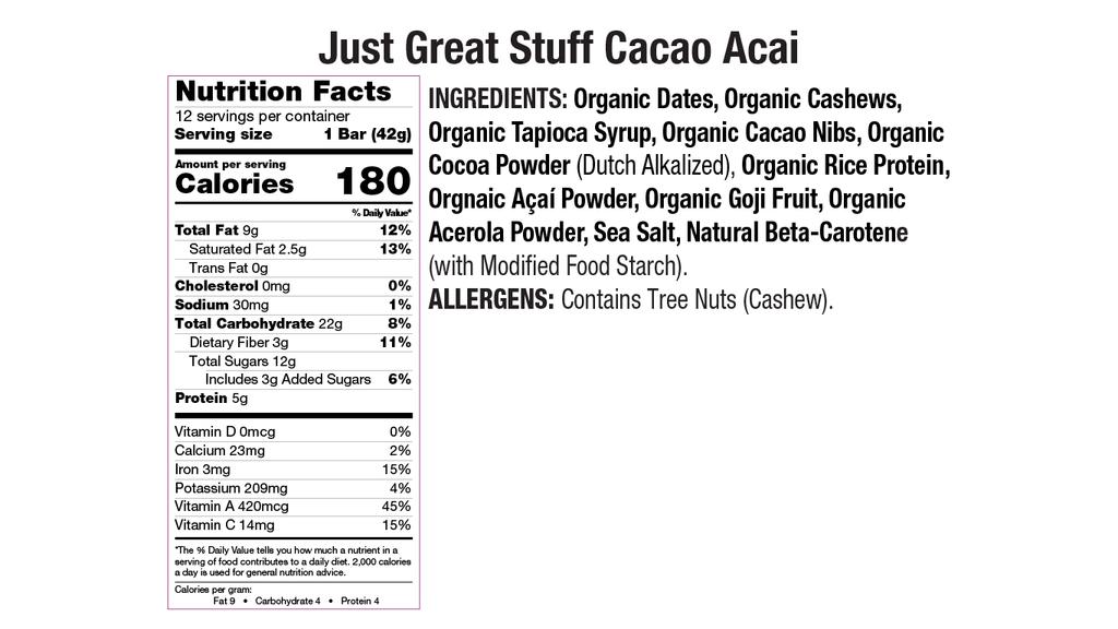 Cacao Acai Nutritional