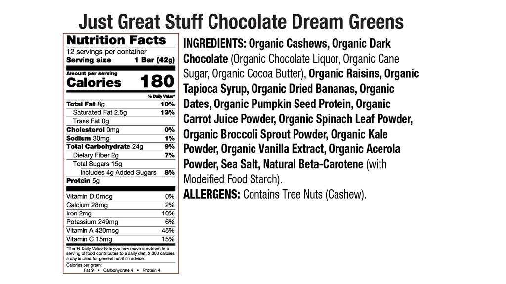 Chocolate Dream Greens Nutritional