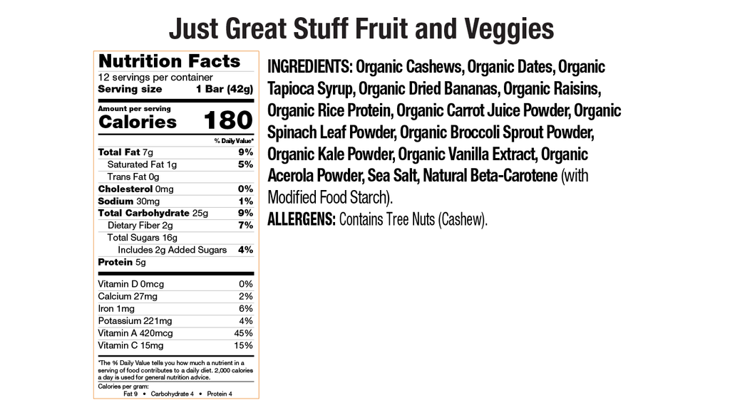 Fruit and Veggies Nutritional