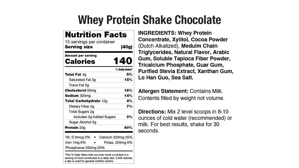 Whey Protein Shake Chocolate Nutritional