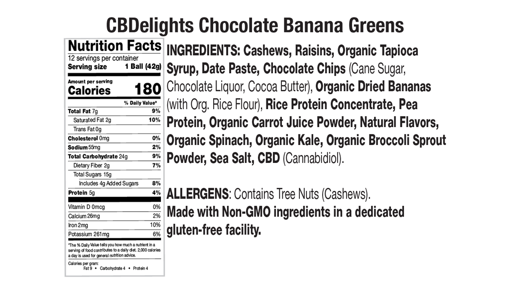 Chocolate Banana Greens Nutritional