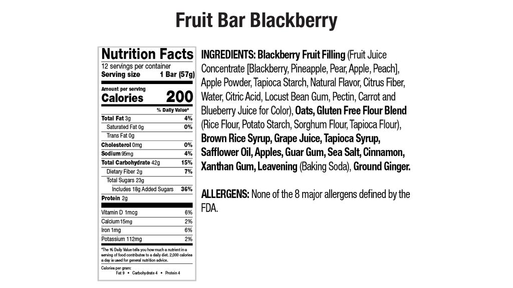 Blackberry Fruit Bar Nutritional