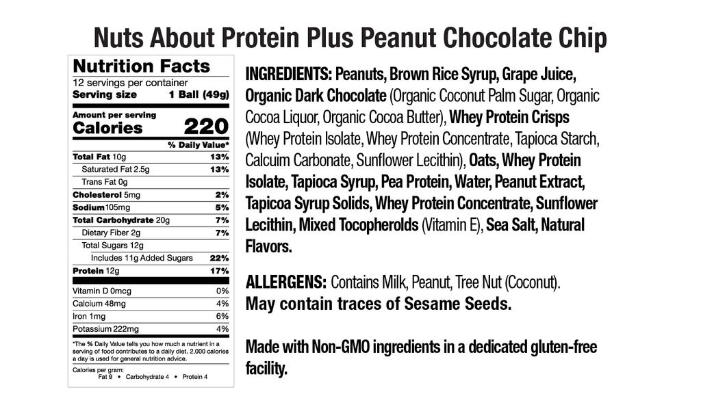 Protein Plus Peanut Chocolate Chip Nut Butter Balls