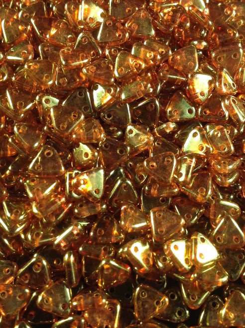 6mm Crystal Topaz CzechMates 2 Hole Triangle ( 25 grams )