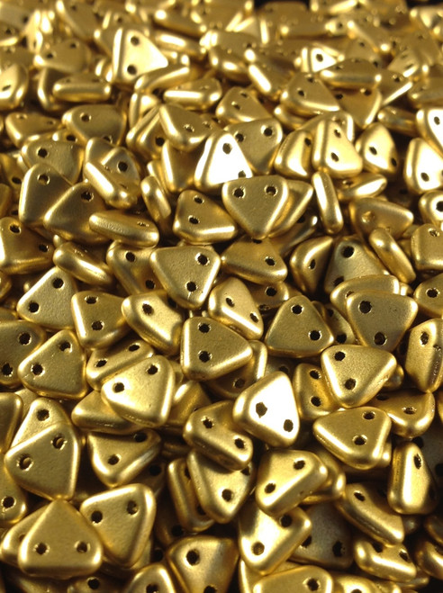 6mm Metallic Flax CzechMates 2 Hole Triangle ( 25 grams )