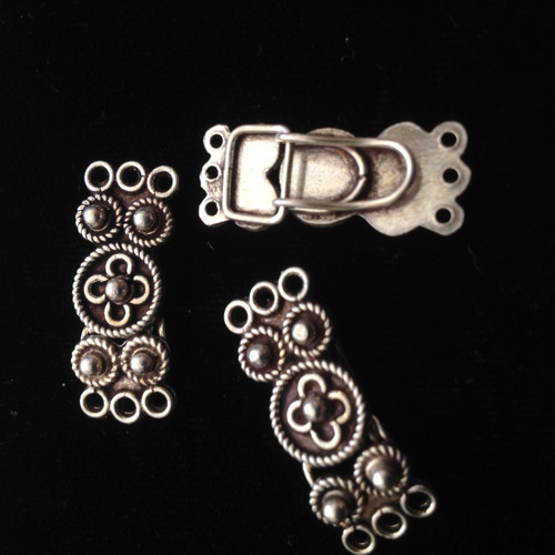 One Antique Sterling Silver Clasp Set # 2
