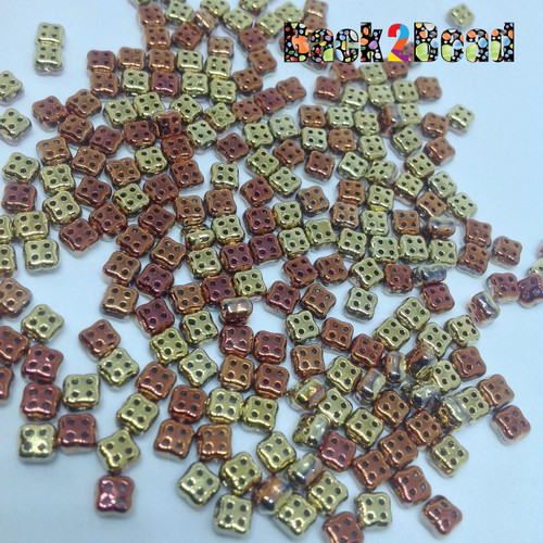 California Gold 4Ceed© ( 98542 ) 3x5 Four Hole Seed Bead 25 gram bag, app. 270 beads