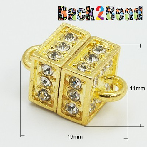""" Boxer "" Gold Alloy Rhinestone Magnetic Clasps, Cube, 19x11mm, Hole: 3mm"