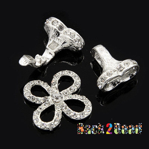 """ Ivy "" Alloy Rhinestone Fold-Over Magnetic Clasps, Grade A, Flower, Silver, 44x25mm, Pin: 1mm"