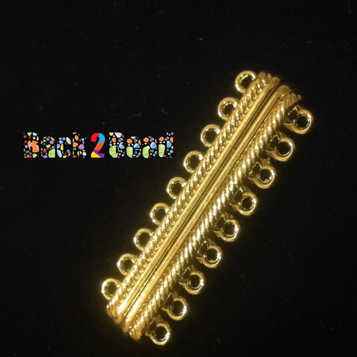 9-Strand Rectangle Alloy Magnetic Clasps, 18 Holes, Golden, 48x15x7mm, Hole: 2mm