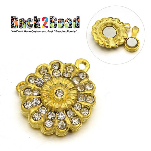 Flower Alloy Rhinestone Magnetic Clasps, Golden Size: about 24mm wide, 24mm long, 7mm thick, hole: 2mm