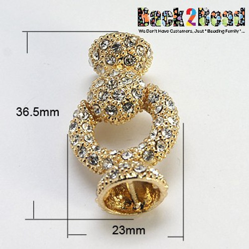 Alloy Rhinestone Magnetic Clasps, Grade A, Donut, Golden Size: about 36.5mm long, 23mm wide, 13mm thick, 8mm inner diameter, pin: 1mm.