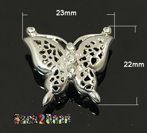 Brass Magnetic Clasps, with Rhinestone, Butterfly, Platinum Size: about 23mm wide, 22mm long, 8mm thick, hole: 1mm