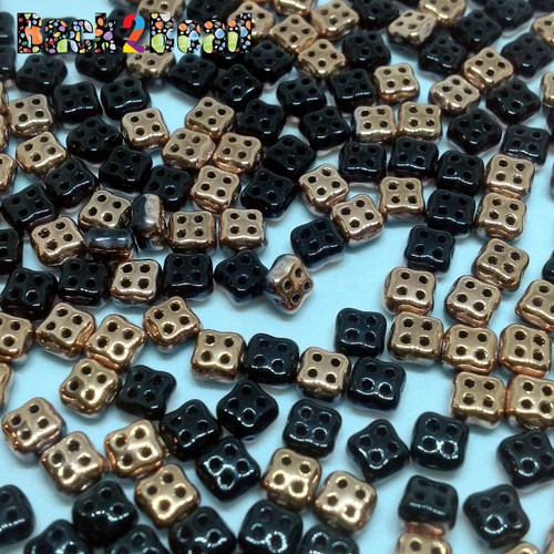 Black/Capri Gold 4Ceed© ( 2398-27101 ) 3x5 Four Hole Seed Bead ( 25 gram bag )