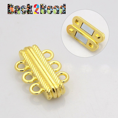 """ Little Joe "" Gold Oval 3 Strands Alloy Magnetic Clasps, 6-Hole, 27x17x7mm, Hole: 3mm"