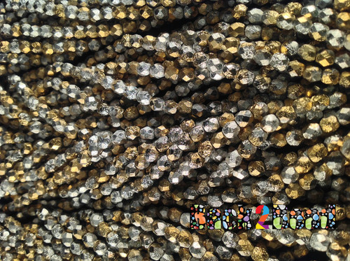 4mm Etch Silky Golden Silva  ( 98550 - 85410 ) Fire Polish   600 pieces