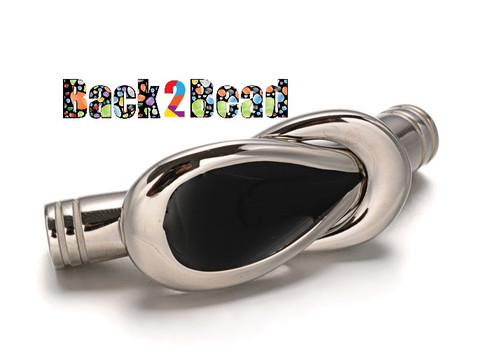 Stainless Steel and Black Enamel Glaze Magnetic Clasps, with Enamel, 44x15x6mm, Hole: 5mm