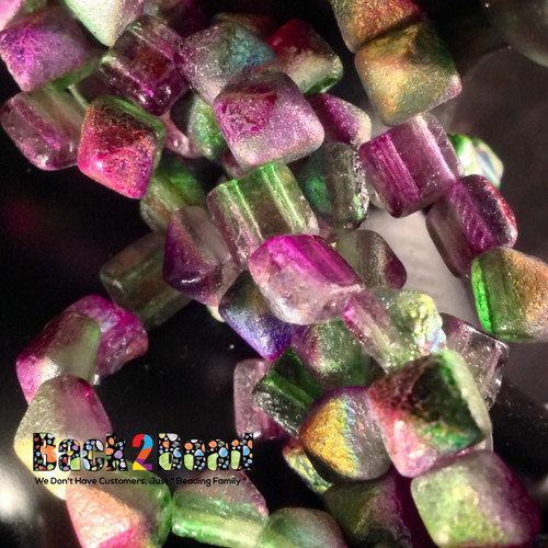 8MM Crystal Magic Orchid ( 95000 ) Etch BeadStudz - 2-Hole Czech Glass Pyramids ( 144 Pieces - 6 Strands )