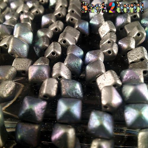 8MM Silva Surfer AB  ( 01700 - 28701 ) Etch BeadStudz - 2-Hole Czech Glass Pyramids ( 24 Pieces per Strand x 6 Strands )