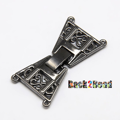 2 Strands Plating Zinc Alloy and Brass Fold Over Watch Band Clasps, 4-Hole, Lead Free, Mixed Color, 36x19x3mm, Hole: 1mm