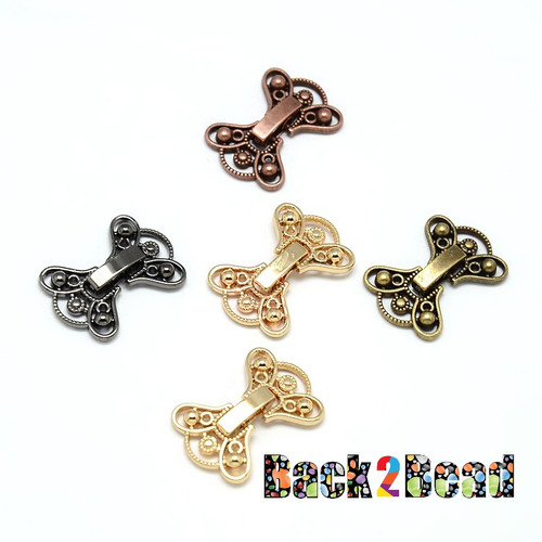 2-Hole Plating Zinc Alloy and Brass Fold Over Clasps, Lead Free