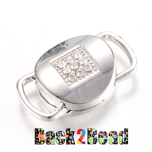 """ The Beacon "" Platinum Alloy Rhinestone Magnetic Clasps, 21x17x8mm, Hole: 10x3mm"
