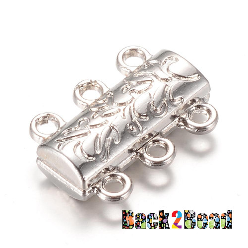 """ Ivy's Sister "", Platinum Alloy Magnetic Clasps, 14mm long, 19mm wide, 6mm thick, hole: 2mm."