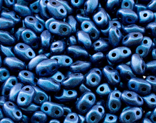 Metallic Blue ( 24203 ) SuperDuo 2.5x5mm, Czech Glass Beads, Matubo, 2 hole seed beads ( 25 gram bag )