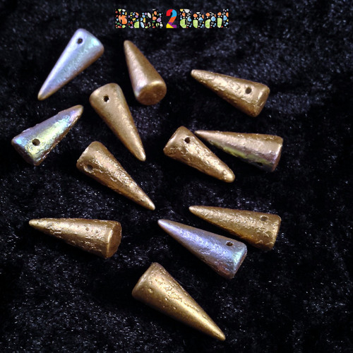 These Preciosa Czech glass Spike beads are 7mm at the base and 17mm long and they are top hole drilled horizontally. The Etching and AB finish of these beauties give them a unique look.