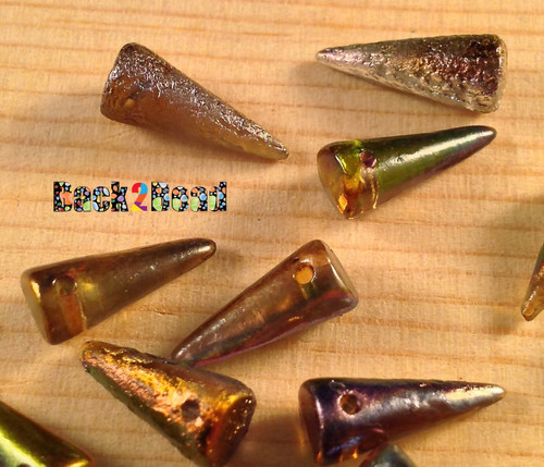 7x17 Crystal Magic Copper (95300) Etch Spike Beads