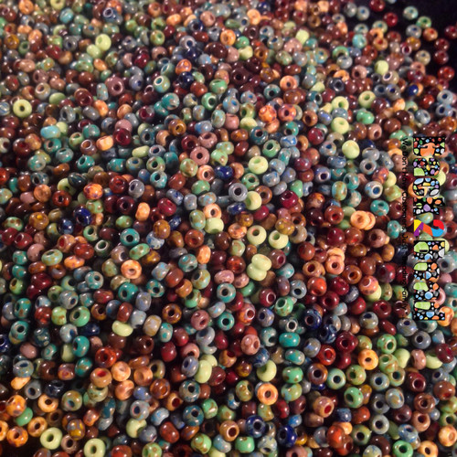 8/0 Aged Picasso Seed beads are a beautiful mix of colors to make any project one of a kind!