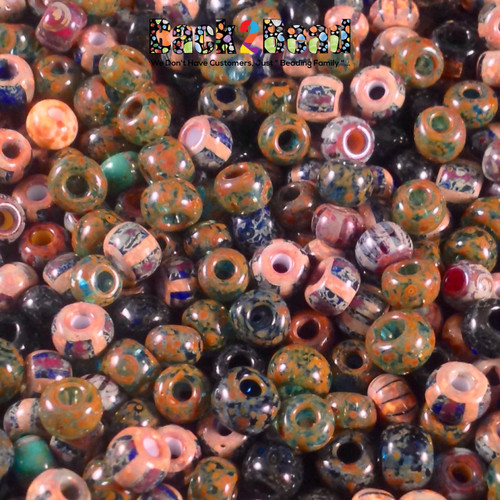 4/0 Aged Picasso Luster Seed beads are a beautiful mix of striped seed beads that have been aged yet have a smooth luster finish.
