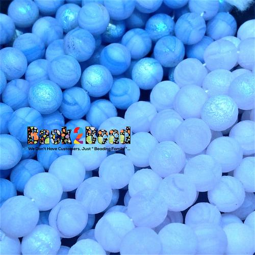 8MM Etch Rose Agate AB/Lt. Blue Agate AB Ghost Druk Multi Pack 150 pieces each