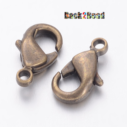 Environmental Brass Lobster Claw Clasps, Nickel Free, Antique Bronze Size: about 10mm long, 5mm wide, 3mm thick, hole: 1mm.