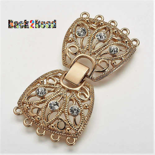 Filigree Alloy Fold Over Clasps, Long-Lasting Plated, with Rhinestone, 5 Strands, 10-Hole, Light Gold Size: about 29mm wide, 61mm long, 4mm thick, hole: 2mm.