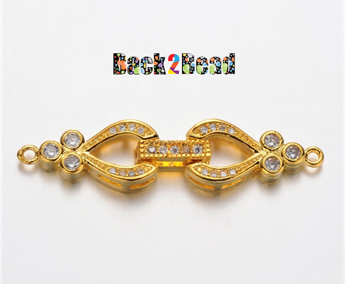 Brass Micro Pave Cubic Zirconia Fold Over Clasps, Lead Free & Nickel Free, Clear, Golden Size: about 10mm wide, 43mm long, 5mm thick, hole: 1mm.
