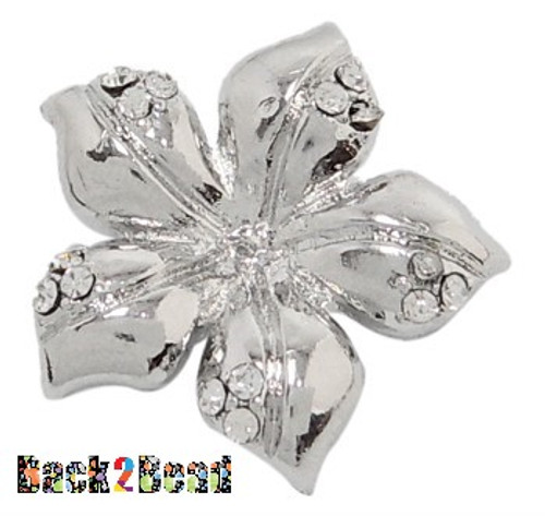 Brass Magnetic Clasps, with Rhinestone, Flower, Platinum Color about 24mm wide, 24mm long, hole: 1.5mm