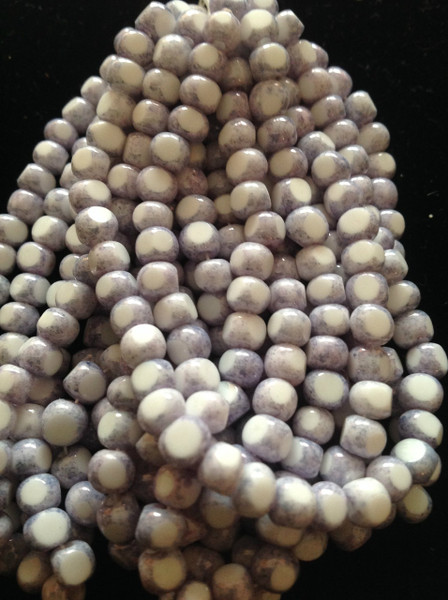 2/0 White Blue Picasso Fire Polish Seed Bead Hank